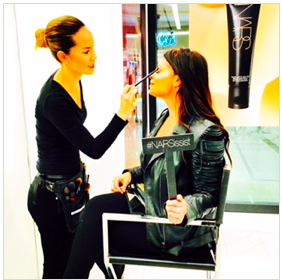Getting my makeup touched up at Nars!
